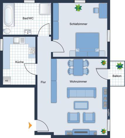 Schöne 2 Raum Wohnung mit Balkon