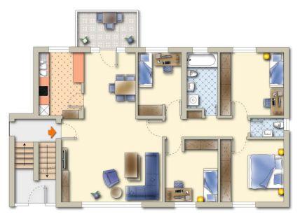 5-Zimmer WHG mit Balkon im Erdgeschoss