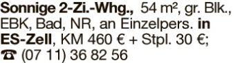 Wohnung in Esslingen  - Zell